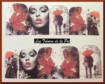 STICKERS ONGLES WATER DECAL (x10) - Nail art - Femme & couple - Noir & rouge