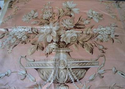 Vintage Victorian Era Pink Satin Drapery Fabric Urns Flower Swags Remnant