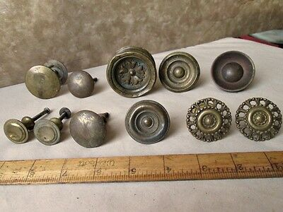 "11 Vintage BRASS & Metal DRAWER,Door, Rosettes, KNOBS, 1"" - 2 1/4"" Diam."