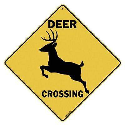 "Deer Metal Crossing Sign 16 1/2"" x 16 1/2"" Diamond shape Made in USA #376"