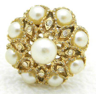 VTG Gold Tone Faux Pearl Clear Rhinestone Cluster Cocktail Ring Size 6.75