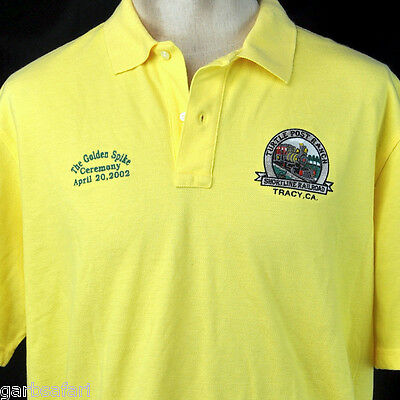 Train Turtle Post Ranch Railroad Lands End Polo Shirt XL Gold Spike 2002 Shortln