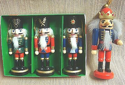 3 NIB Wooden Soldier NUTCRACKER Ornaments + 1 Larger Soldier w/Jeweled Crown