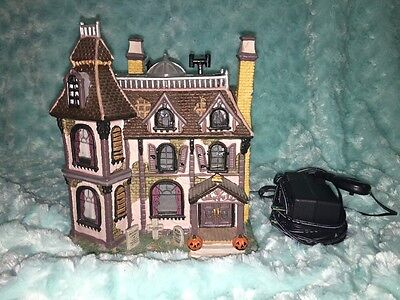 Lemax Spooky Town Halloween  2002 The Alford Mansion Porcelain Lighted House
