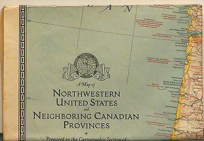 1941 National Geographic Map of Northwestern United States and Neighboring Canad