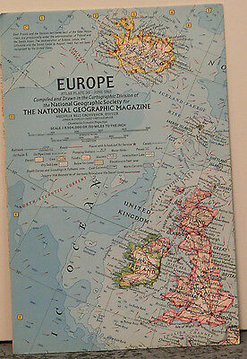 Vintage 1962 National Geographic Map of Europe