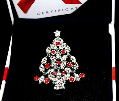 Signed Swarovski Pin Brooch 2002 Christmas Tree Rhodium Plated w/Crystals New (D