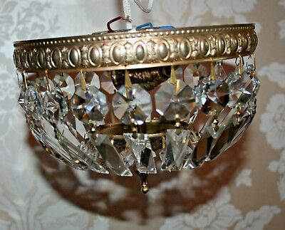 Pair Vintage Italian All Glass Crystal Chandelier/Light Fittings Ceiling Baroque