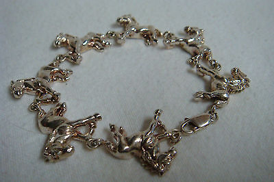 "STERLING SILVER Trotting Horses 7 1/4"" BRACELET Marked 925"