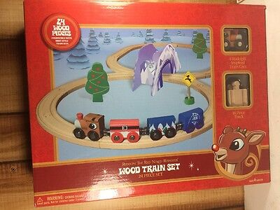 New Christmas Rudolph The Red Nosed Reindeer Wooden Train Set Toys R Us Brio