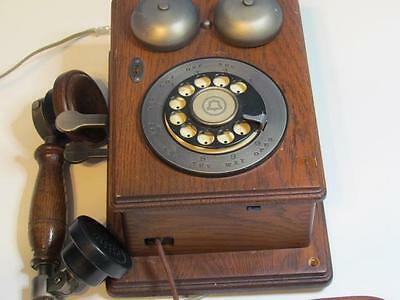 Vintage Western Electric WOODEN BOX TELEPHONE Rotary Dial Wall-Mounted