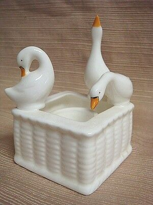 UNIQUE PORCELAIN CANDLE HOLDER w/ GEESE - Pretty & Delicate