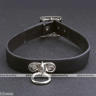Gothic Genuine Leather Buckle Collar Choker Necklace Harajuku Neck Ring Women