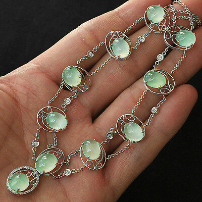 101.7CT 100% Natural Grade A Jadeite Jade 18K Gold Diamond Necklace YCDZ8