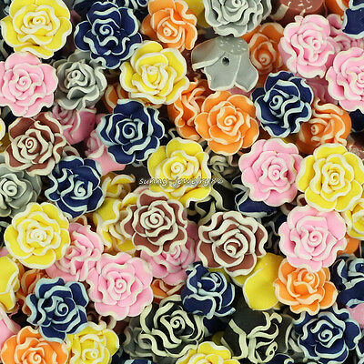 50pcs Mixed Polymer Fimo Clay Rose Flower Loose Spacer beads 15mm SL100