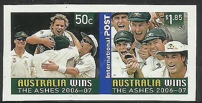 AUSTRALIA 2007 ASHES VICTORY 2006/07 Series 2v IMPERF Pair MNH.