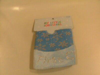 """New A Tree For Me 12"""" Diameter Blue Tree Skirt First Christmas"""