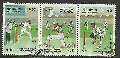 BANGLADESH 1988 ASIA CUP CRICKET Strip of 3 CTO Used.