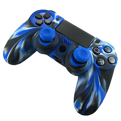 Blue Hot Silicone Grip Cover Case Skin+2 Joystick Caps For PS4 Controller Soft