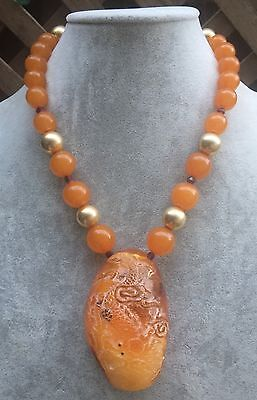 Vintage Antique Chinese Large Amber Dragon Pendant Necklace