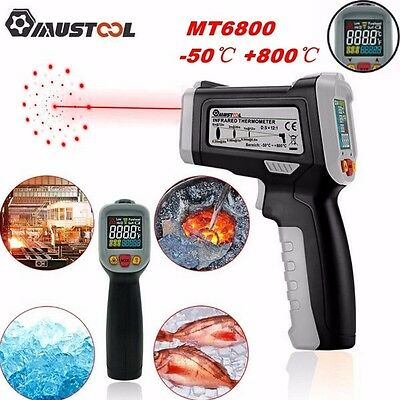 Mustool MT6800 -50~800℃ LCD Digital IR Non-Contact Termómetro Láser Tester