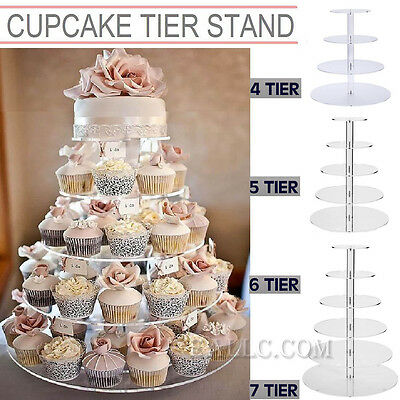 4 - 7 Tier Clear Acrylic Round Cake Cupcake Stand Birthday Wedding Party Display