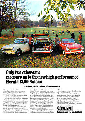 Triumph Herald 1360 Estate Convertible & Saloon A3 Poster Print From 60's Advert