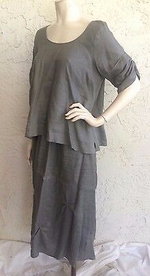 CHALET Gray 100% Linen Tunic Top and Skirt 2pc Set Outfit Art to Wear Sz M