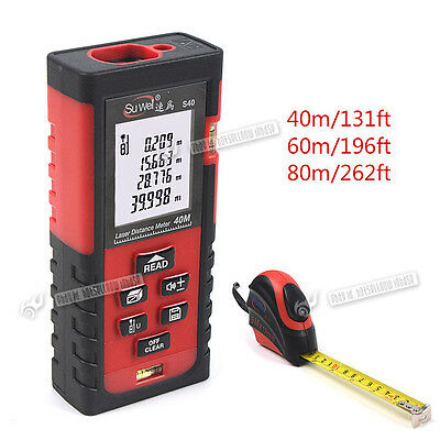 40m-80m Mini Digital Laser Distance Meter LCD Rangefinder Diastimeter Measure UK