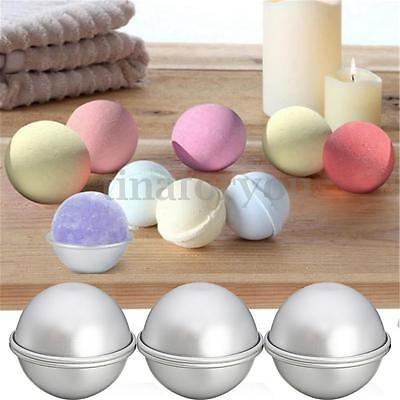 6pcs(3 Sets) 65mm Aluminum Silver Round Bath Bomb Molds Tools For Fizzy Sphere