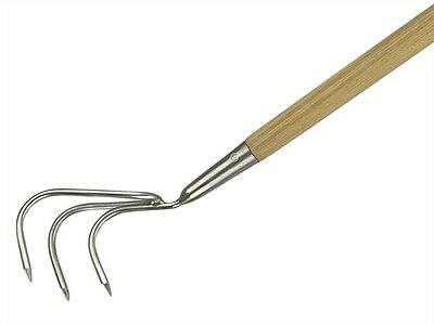 Kent and Stowe Long Handled 3 Prong Cultivator Stainless Steel