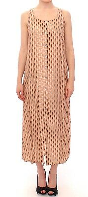 NWT $360 LICIA FLORIO Pink Long Button Front Sleeveless Dress Gown IT42 / US8 /M