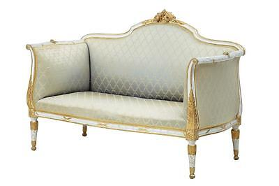 19Th Century Carved Swedish Painted And Gilt Settee