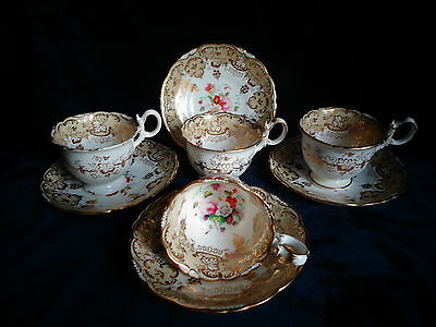 Stunning Set of 4 Cups & Saucers - Hand Painted - Rockingham Style