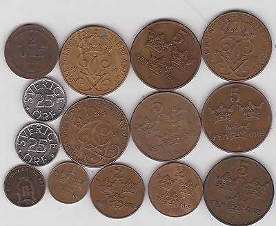 14 Different Coins From Sweden Dated 1882 To 1978