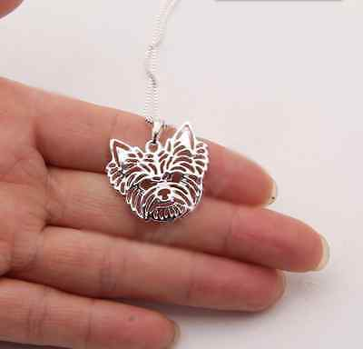 Yorkshire terrier 3D Silver pendant necklace dog collectible N120