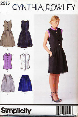 Simplicity Pattern 2215 Misses 14-22 Cynthia Rowley Pinafore Dress, Skirt Blouse