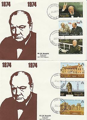 1974 Anguilla Churchill Stamps On 2 First Day Covers FDI PMK Ref: MT47