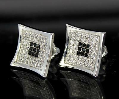 13mm Kite Icy CZ Prong HipHop Silver Black Tone Mens Bling Earrings Screw on