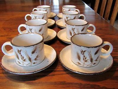 8  Midwinter Stonehenge Wild Oats Wedgwood Cups and Saucers 8 ounces