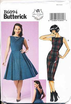 Butterick Sewing Pattern 6094 Misses 14-22 Retro Dress W/ Flared Or Pencil Skirt