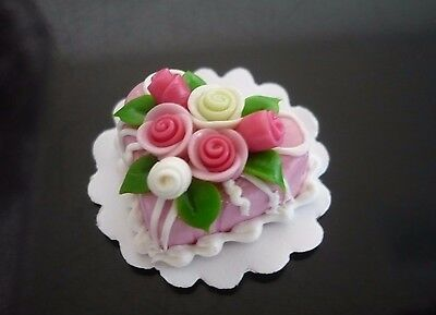Pink Heart Cake Rose Top Dollhouse Miniatures Food Deco Valentine Day