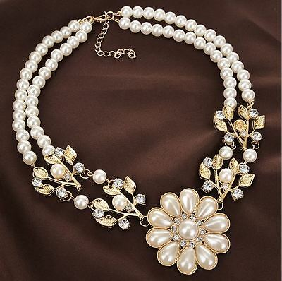 Short Length 2 Strand Cream Flower Leaf Faux Pearl Diamante Crystal  Necklace