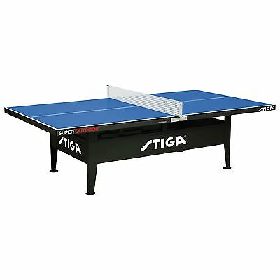 Stiga Super Outdoor Weatherproof Table Tennis Ping Pong Table with Net - Blue