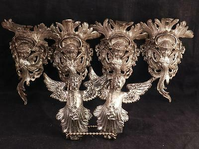 Antique Architectural Salvage Winged Angel~Putti Corbels~Silverplate Figure