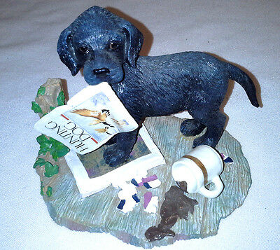 1990 Hamilton Collection Playtime Puppy Titled Cabin Fever Figurine  Box  #3