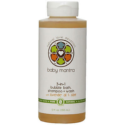 Baby Mantra 3-in-1 Bubble Bath, Shampoo & Wash - Lavender Oil & Aloe - 12 oz