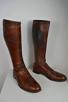 Vintage 1890 Tom Hill Knightsbridge Brown Leather Victorian Boots With Gaiters 9