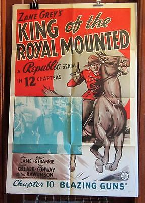 1940 KING OF THE ROYAL MOUNTED Chapter 10 ONE-SHEET Movie Poster