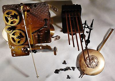 Vintage Linden Clock Parts Movement 341-020, Chime, Hands for Repair or Restore